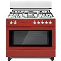 Cocina SolThermic F9L50G2 ROJA PANORAMICA compuesta por 5 Quemadores y Horno panoramico