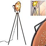 Lámpara de pie EIDE de metal negro de cobre–Vintage lámpara de suelo para dormitorio–Salón