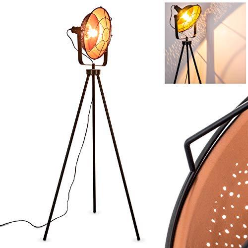 Stehleuchte EIDE aus Metall – Vintage Bodenleuchte – Fluter für Schlafzimmer, Wohnzimmer, Esszimmer – Retro-Standlampe mit großem rundem Lampenschirm wie am Filmset
