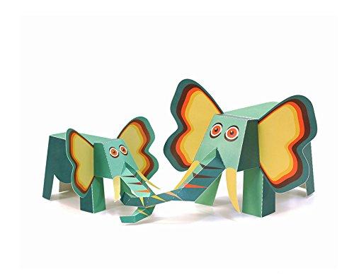 POWERHAUS24 Großer Elefant, Bastelvorlage Tiere aus Afrika, Papier Spielzeug zum Basteln & Spielen
