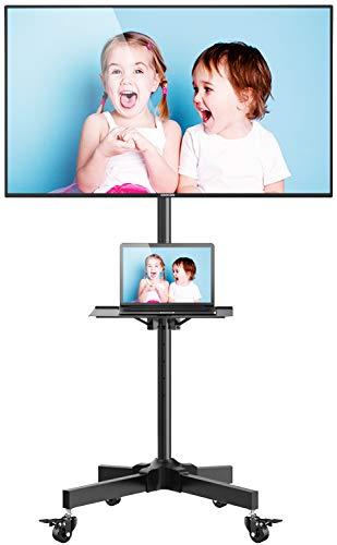 Perlesmith TV Standfuß, Mobiler TV Ständer mit 4 Rollen und Multimedia Regal, Höhenverstellbarer Fernsehwagen für 23-55 Zoll Fernsehr oder Monitor, Max. VESA 400 x 400mm