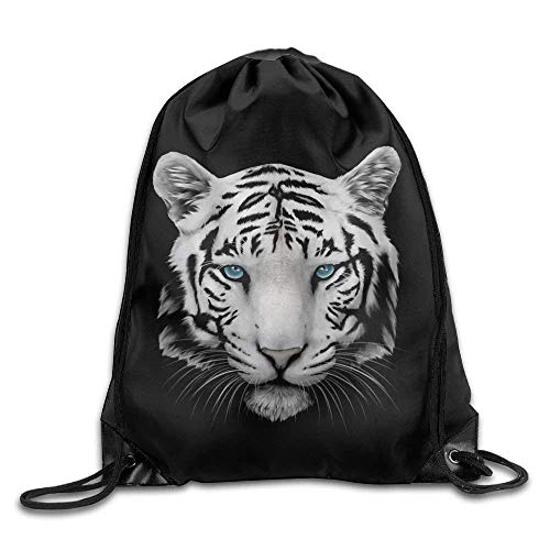 fengxutongxue Blue Pupil White Tiger Face Gym Drawstring Backpack Unisex Portable Sack Bags (Gym Roller Bag)
