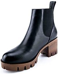 ANNIESHOE Botas Mujer Cuero Otoño Invierno Chelsea Boots Forradas
