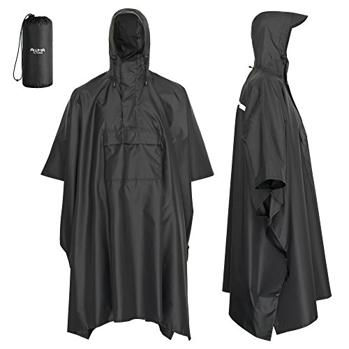41tICi95p2L. SS500  - AWHA rain poncho black, unisex - the extra long rain cover with a zipper and chest pocket