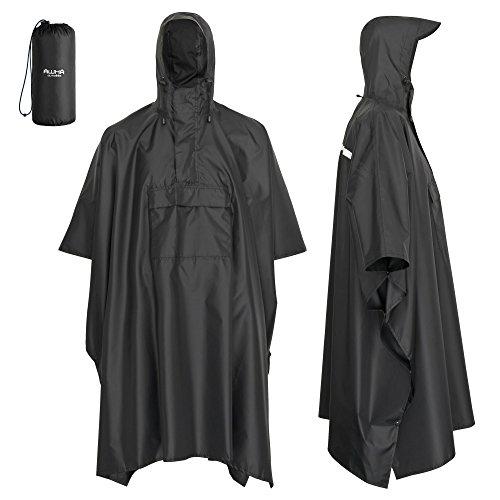 AWHA Regenponcho Unisex - der extra Lange Regenschutz mit Reißverschluss und Brusttasche