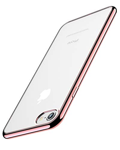 """Cover per iPhone 6, Cover per iPhone 6S, Joyguard Custodia per iPhone 6/6S Trasparente Cristallo Silicone Morbido Sottile Flessibile TPU con Paraurti di Effetto Metallico - 4.7"""" - Rosa"""