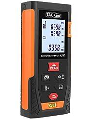 Tacklife HD 60m Classique Télémètre Laser Numérique avec LCD Rétro-éclairage Metre Laser Calcule Distance Surface Volume pour Bricolage avec Fonction Mute