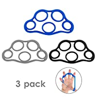 MoKo Hand Grip Strengthener, 3 Pack Finger Exerciser & Hand Grip Ring Muscle Power Training Rubber Ring Exerciser Gym Expander for Muscle Pain Relief and Therapy - Black & Blue & Light Gray