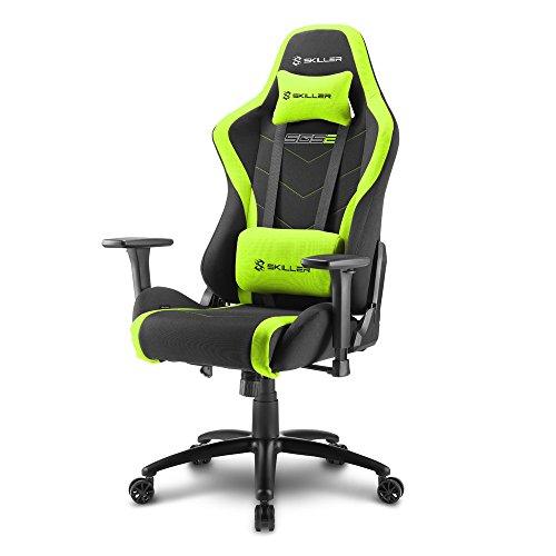 Sharkoon Skiller SGS2 Hochwertiger Gaming Stuhl mit Stoffbezug, Robuste Stahlrahmenkonstruktion, Flexibel einstellbare 3-Wege-Armlehnen, Stabile Gasdruckfeder, 60 mm Rollen, schwarz/grün