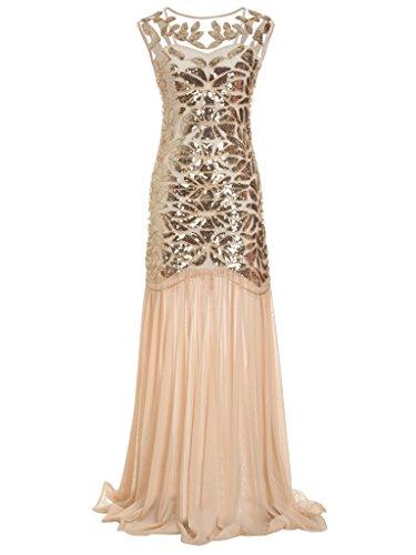 FAIRY COUPLE 1920 Bodenlänge V-Rücken Pailletten verschönert Abschlussball Abend Kleid D20S004(L,Champagner Gold)