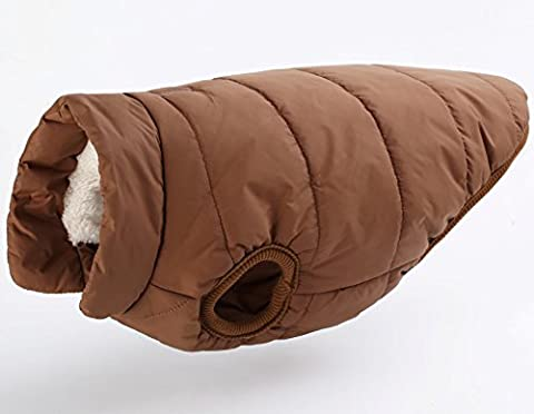 Winter Dog Clothes Pet Clothing Cotton Padded Jacket Snaps,Coffee,Xxl