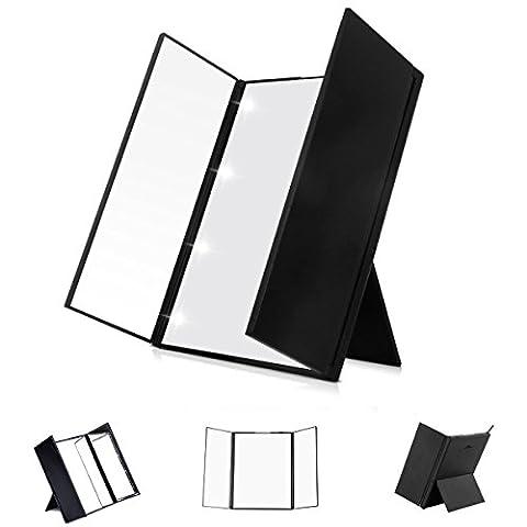 Kosmetikspiegel- LED Spiegel Beleuchtet Faltbarer Taschenspiegel mit 8-LEDS SONOKA Tri-Fold kosmetisches Make-up Reise Eitelkeit Faltbare Taschenspiegel / Standspiegel für Make up und Rasur (Doppelseitige Beleuchteter Make-up-spiegel)