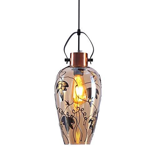 Glas 1 Licht Hängen (ZYYMK Rustikale Vintage Loft Bar Pendelleuchte Armaturen Cluster Kronleuchter Hängen Deckenleuchte Leuchte mit Glas Licht Schatten,1-S)