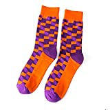 SKNSM Calzini da uomo a 3 paia di calze a quadri color block, calzini caldi traspiranti (Colore : Orange, Dimensione : Taglia unica)