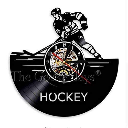 GJ-RNG Eishockey Schallplatte Wanduhr Retro Kreative Heimtextilien