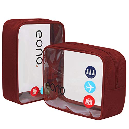 Eono Essentials, beauty case trasparente, borsetta portaoggetti da viaggio, per cosmetici e cura del corpo, unisex, da uomo e donna, impermeabile Borgogna Due pacchetti