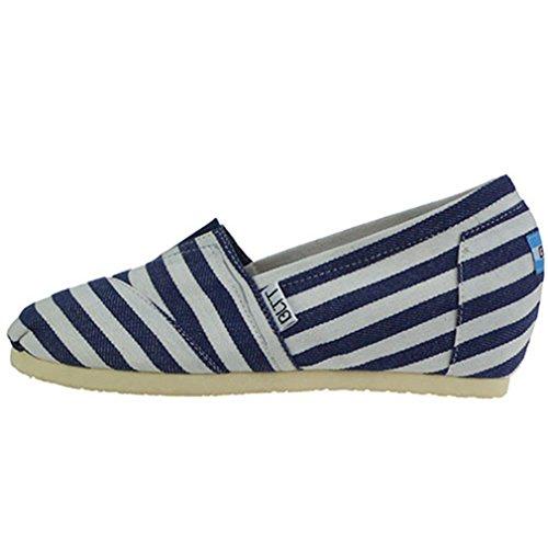 Damen Slipper Canvas Unsichtbar Erhöhung Leicht mit Weichen Gummi Sohlen Atmungsaktiv Bequem Lässig Freizeit Modisch Schuhe Blau