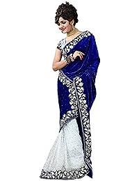 Esomic Women's Velvet & Net Saree With Blouse Piece (Blue Velvet-1_Blue)