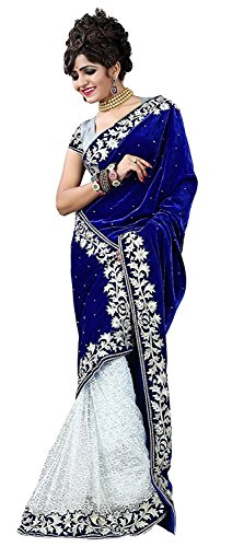 Desney Fashion Women\'s Velvet & Net Dupatta Saree (D-Blue Velevt_Pink)