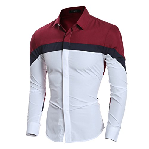 Men's Personalized Patchwork Vintage Leisure Long Sleeve Slim fit Casual Shirts Wine Red