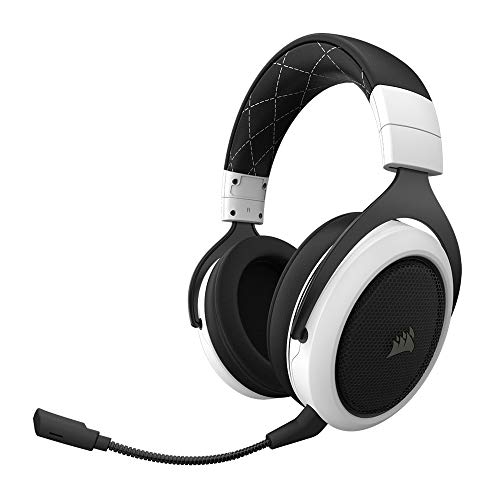 Corsair HS70 Kabelloses Gaming Headset (7.1 Surround Sound, mit abnehmbaren Mikrofon, für PC/PS4) weiß Wireless-stereo-headset