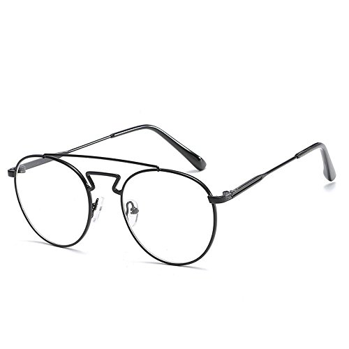 BiuTeFang Mens Sunglasses Women Metal Student with Mirror Tee Off Glasses Frame Round Male and Female Literature Fan Chao Spectacle Frame