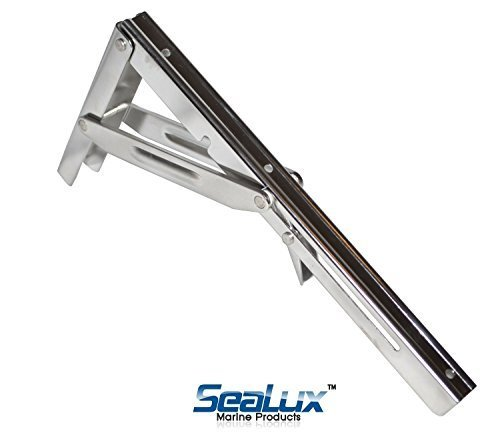 SeaLux Stainless Steel Folding Shelf Bracket 12 (550 lbs Short Release) by SeaLux (Shelf Hardware Folding)