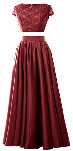 MACloth Women 2 Piece Prom Gown Cap Sleeves Lace Long Formal Evening Party Dress Burgunderrot