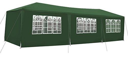 Iso Trade Garten-Pavillon 3x9m inkl. 8 Seitenteile Stabile Metall-Stangen Party #5521, Farbe:Grün