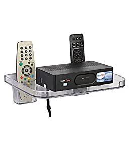 Logger Unbreakable Set Top Box Stand with 2 Remote Holder White