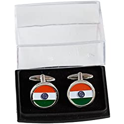 The Flag Shop Indian Circular Flag Cut-out Nickel-Plated Brass, High Quality Cufflinks for Shirts / Clothing Accessories