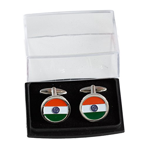 The Flag Shop Indian Circular Flag Cut-out Nickel-Plated Brass, High Quality Cufflinks...