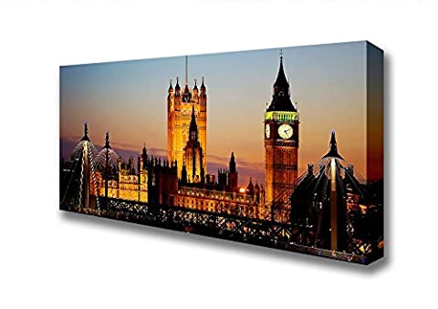 Panoramic The Glow Of Houses Of Parliament Night Lights Canvas Art Prints - Extra Large 28 x 64 inches