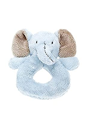 Mousehouse Gifts Blue Stuffed Animal Elephant Plush Rattle Ring Soft Toy for Newborn Baby Boy