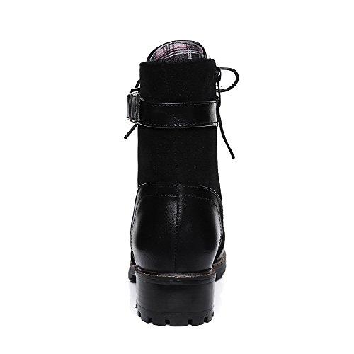 VogueZone009 Damen Blend-Materialien Mitte-Spitze Rein Niedriger Absatz Stiefel Schwarz