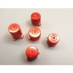 Laixing High Qualität Red #A1887 Aluminum ABXY&Guide Bullet Buttons fur Xbox 360 Controllers