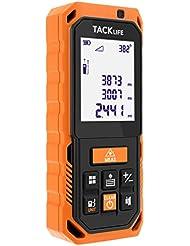 Tacklife S2 100m Professionnel Télémètre Laser Numérique Antichoc /Mesure Automatique Verticale et Horizontale /Calcule Surface et Volume /3 Mode de Pythagore /Affichage d'Angle en Temps Réel