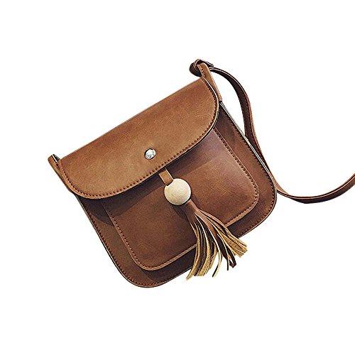 Longra Pelle modo delle donne nappe borsa a tracolla a spalla Marrone