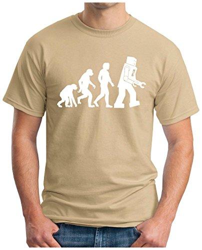 OM3 - BIG-BANG-ROBO-EVOLUTION-WS - T-Shirt ROBOTER NERD ROBOT GEEK EMO FUN SITCOM TBBT SARCASM PARODY, S - 5XL Khaki