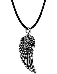 c2596584d7a6 Nenalina Damen Kautschuk Halskette mit schwarzem Engelsflügel Anhänger in  925er-Sterlingsilber besetzt mit Cubic Zirkonia