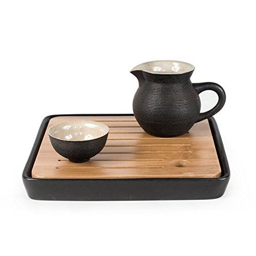 ini Platz Tee tablett Kungfu Tee & Kaffee Tablett Lagerung Wasser Trays Bambus-Serviertablett (Schwarz) (Wasser Tray)