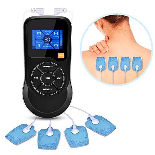 VINGVO Elettrostimolatore Muscolare Intelligente Voce Di Controllo Massaggi - 6 modalità 15 livelli di intensità con USB Ricarica - 4 elettrodi Nero