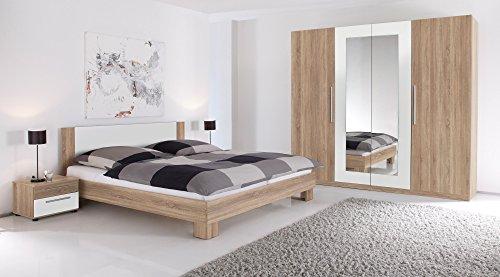 moebel-eins MARTINA Komplett-Schlafzimmer, Material Dekorspanplatte Eiche sonomafarbig/weiss
