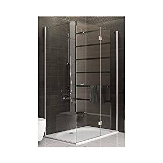 Shower Enclosure / Real Glass Corner Shower / Frameless Shower Unit / Shower Enclosure Approx. 120 x 80 x 200 cm / Real Clear (Safety) Glass / Alpenberger Terri Clear / Height approx. 200 cm / Shower Cubicle