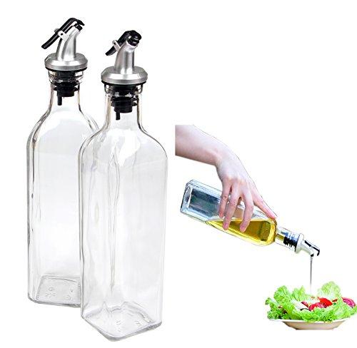 Cruet Oil Dispenser Botella de vidrio para cocinar Contenedor Bote Botella dispensador de aceite para la cocina, con liberación de palanca Pourer, 17 oz por Yier