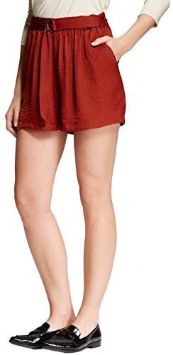 Mossimo Damen Kurze Hose mit weichem Gürtel - Rot - X-Klein