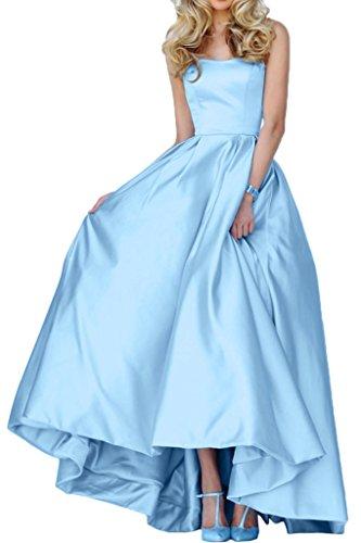 Gorgeous Bride Einfach Traegerlos Hi-Lo Satin Lang Abendkleid Promkleid Abendmode Himmelblau