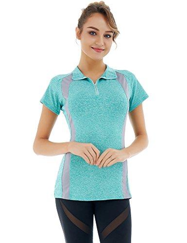 Dromild Frauen Kurzarm-Half-Zip-Color Block Laufshirts Sport Workout Top Tee (Color Block-spitze, Top)