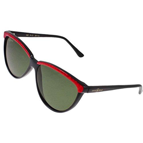 DealMux Lady Shiny Red Schwarz Kunststoff Full Frame Farbige Linse Brillen Sonnenbrillen