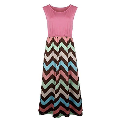 xhorizon FM8 Ärmelloses gestreiftes langes Maxi-Kleid mit V-Schnitt für Damen auf dem Strand im Sommer Rose
